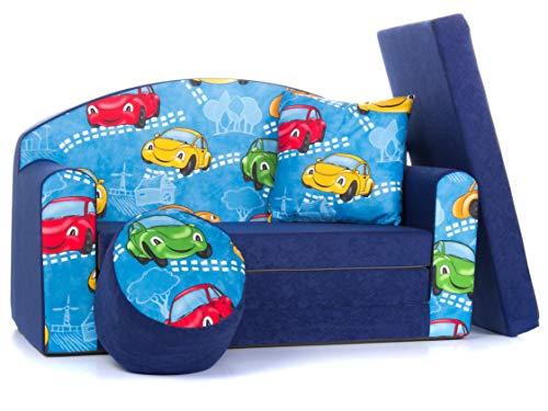 COCO-baby Kindersofa Schaumstoff Spielsofa mit Bettfunktion 3in1 Matratze Spieltisch Sofa Spielzeug ((1SN) SMALL Cars Navy)