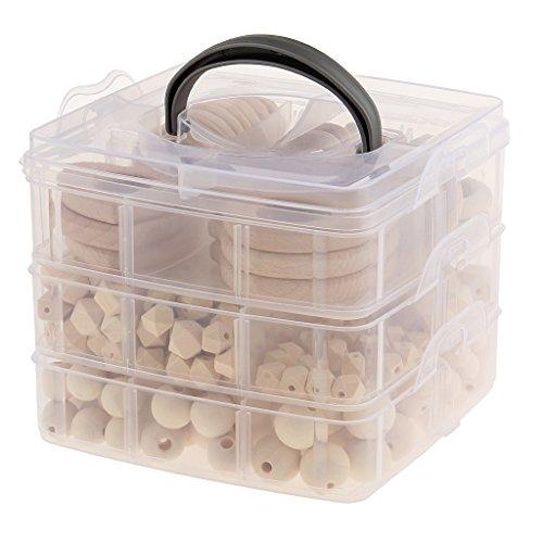 Baoblaze Baby Zahnen Ringe Holzperlen Teether Spielzeug Natürliches Zahnen-Greifen-Spielzeug Baby Beißringe Schmuck DIY Set mit Aufbewahrungsbox