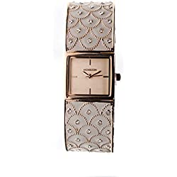 MONSOON LADIES WATCH DESIGNED WITH ON A ROSE GOLD PLATED BANGLE STYLE STRAP AMO4039