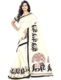 Jaanvi fashion Women's Khadi Silk Elephant Kalamkari Printed Saree (White_Free_Size)