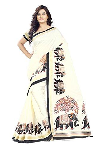 Jaanvi fashion Women\'s Khadi Silk Elephant Kalamkari Printed Saree (White_Free_Size)
