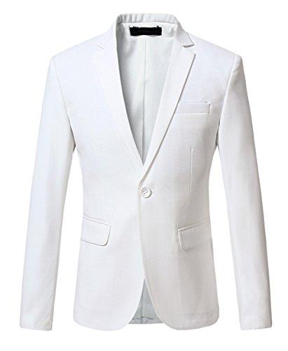 MOGU Herren Weiß Hochzeit Freitzeit Slim Fit Sakko Blazer Größe 40 (Asian Lable M) Weiß