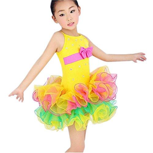 Wgwioo Kinder Tanzen Ballett Kostüme . Yellow . 140Cm (Halloween Kostüme Für Ballett Tänzer)