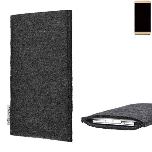 flat.design Handy Hülle Porto für Allview X4 Soul Lite vegane Handytasche Filz Tasche Schutz Case fair dunkelgrau