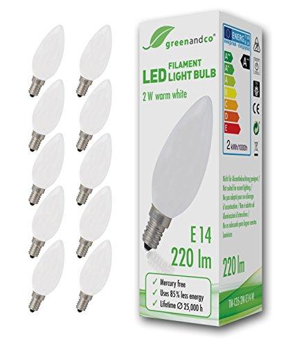 10 lampadine a filamento LED greenandco® smerigliate E14 2W (equivalente 22W) 220lm 2700K (bianco caldo) 360° 230V AC Vetro, non dimmerabile