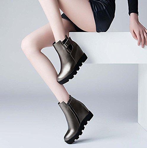 Britannique Style Hiver Martin Boot Talon Caché En Cuir Casual Chaussures Ronde Dot Pointu Toe Boot Femmes Cheville Bottes Couleur De Pistolet