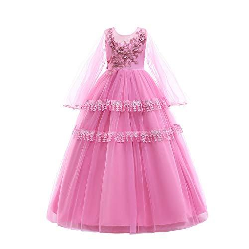 IZHH Kinder Kleider, Kind Mädchen Spitze Langarm Bowknot Prinzessin Hochzeit Leistung Formal Tutu Kleid Kleidung 12M-7T Abendessen Geburtstag Party Kleider(Rosa,160)