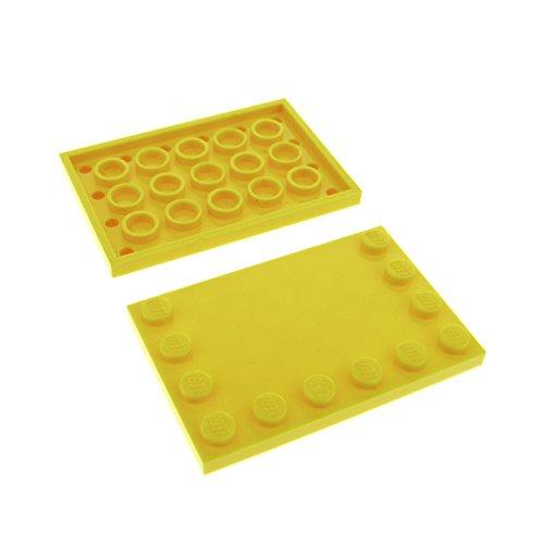 Preisvergleich Produktbild 2 x Lego System Bau Platte gelb 4 x 6 Fliese mit Noppen am Rand für Set Star Wars 75157 7685 8459 7596 7249 6180