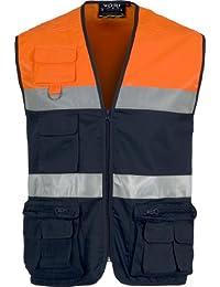 Work Team Chaleco tipo safari multibolsillos bicolor, con dos cintas de alta visibilidad. HOMBRE Marino+Naranja A.V. XL
