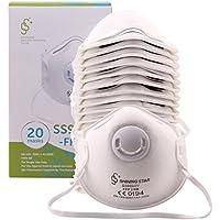 20 x Máscara respiratoria con válvula mascarillas protectora FFP2 CE EN149 contra la contaminación PM2.5 / bacterias/humos / partículas mascarillas protectora filtro desechable