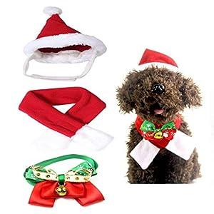 4 Pièces Costume Noël pour, Chapeau de Noël pour Animaux, Très Joli Petit Bonnet de Noel avec Echarpe, Noeud Papillon, Cloche (Chien Chat Décoration en Noël)