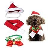 LIZHIGE Animale Domestico Regolabile Natale Cappello Santa, Campana, Sciarpa e Collare Cravatta Papillon Costume di Natale per Cucciolo Gattino Gatti Piccoli Cani Animali Domestici