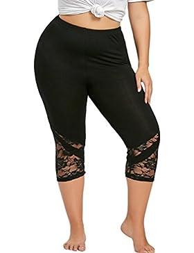 DOGZI Mujer Verano Tallas Grandes Encaje Pantalones Color Sólido Mujer Pantalones Casual Alto Pantalón Yoga Jogging...