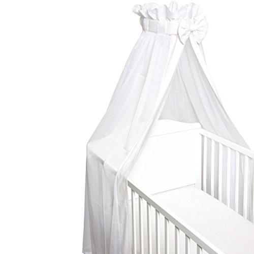 Babybett Schleier / Betthimmel (Mit Schleife) Für Babybetten 60 x 120 cm / 70 x 140 cm (WEIß)