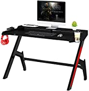 Mahmayi Ultimate GT007 Modern Gaming Table, Carbon Fibre texture with Gear hook, Cup holder and Controller hol