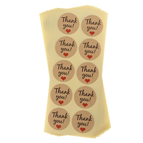 Sharplace Aufkleber/Etiketten/Sticker - Thank You Muster - geschenkaufkleber Set/90Stück - Braun #2
