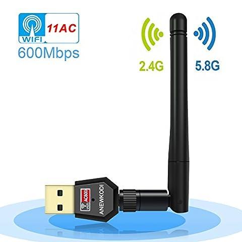 ANEWKODI AC600Mbps WiFi Adapter Antenna WiFi Dual Band 2.4G/5.8G Wireless Network Adapter 802.11ac USB Wifi Adapter for Desktop/Laptop/PC, Support Windows 10/8.1/8/7/XP/Vista, MAC OS
