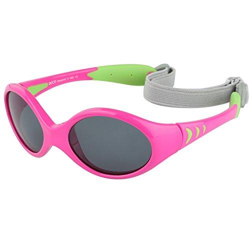 DUCO Kinder Sonnenbrille Polarisierte Sportbrille TPEE Flexibeles Gestell für Baby Mädchen oder Junge 0-24 Monate K012 (Grün)