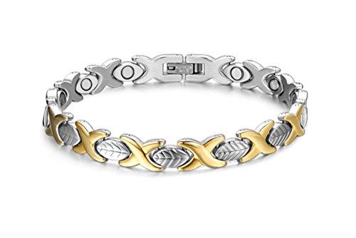 Vnox Forma 7 millimetri in acciaio inox Leaf link Wristband 4 in 1 braccialetto terapia magnetica per Uomini,Donne,Silver Gold,21.6