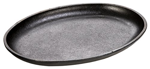 Lodge Patinierte Gusseisen-Pfanne ohne Griffe, ovales Backblech zum Servieren, 25,4x 19,05cm