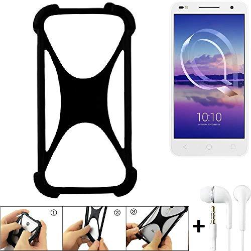 K-S-Trade Handyhülle für Alcatel U5 HD Dual SIM Schutzhülle Bumper Silikon Schutz Hülle Cover Case Silikoncase Silikonbumper TPU Softcase Smartphone, schwarz (1x), Headphones