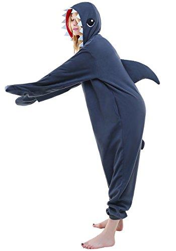 tüm Jumpsuit Tier Schlafanzug Erwachsene Unisex Fasching Cosplay Karneval (M, Shark) ()