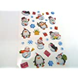 Snowman & Penguin Stickers - Kids / Childrens Christmas Labels for party bags , scrap books , card making or notebook decoration , stocking filler
