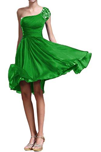 Victory Bridal Zaerte Ein-traeger Steine Cocktailkleider Damen Abendkleider Partykleider Kurz Chiffon A-linie Grün