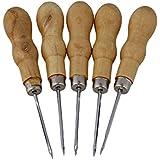 cnbtr 12,5cm piel Piercing perforación de herramientas agujero costura punzón con mango de madera juego de 5