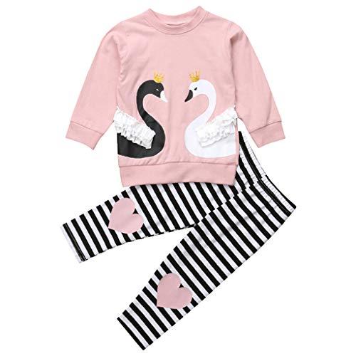 Kobay Babykleidung Mädchen Winter Kleinkind Baby Langarm Cartoon Swan Print Tops + Gestreifte Hose Outfits(12-18M,Rosa) -