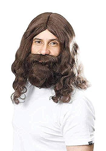 Jesus Hippie Religiös Weihnachtsfeier Hippy Perücke Und Bart Set Erwachsene Accessoire