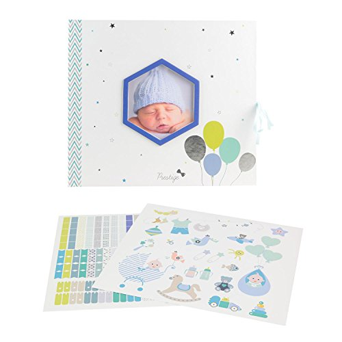 Livre de naissance personnalisable bébé garcon 30 pages, 100 stickers, Inclus 1 toise Journal Coffret à souvenirs à compléter photos Tom&Zoé Bleu