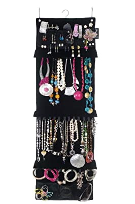 Swag-bag Wardrobe Jewellery Organiser and Hanging Jewellery Storage in luxury black velveteen, holds your necklaces, earrings, bracelets, brooches and rings - inexpensive UK light store.