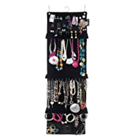 Swag-bag Wardrobe Jewellery Organiser and Hanging Jewellery Storage in luxury black velveteen, holds your necklaces, earrings, bracelets, brooches and rings