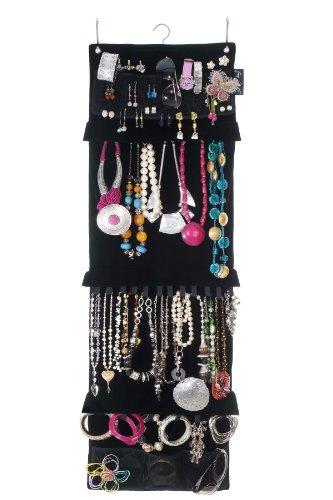 Kleinen Raum-storage-lösungen (swag-bag Aufbewarungslösung für den Kleiderschrank, Schmuck-Organizer, zur Schmuck-Aufbewahrung, Schwarzer Velourssamt, für Halsketten, Ohrringe, Armbänder, Broschen und Ringe)
