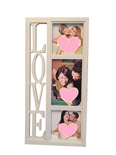 lage 3 Fotos LOVE 40x20 cm, das perfekte Geschenk für den Liebsten/die Liebste, zur Hochzeit, zum Geburtstag, weiß, Kunststoff, romantisch 3 Fotos. Bilderrahmen Fotocollage ()