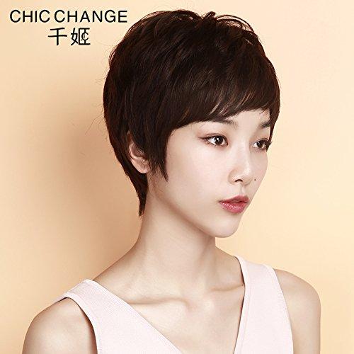 zhudj Perücke weiblich kurz Hair Head Temperament Repair Gesicht flauschig natürlich Synthetische Ganzen Lace Perücke