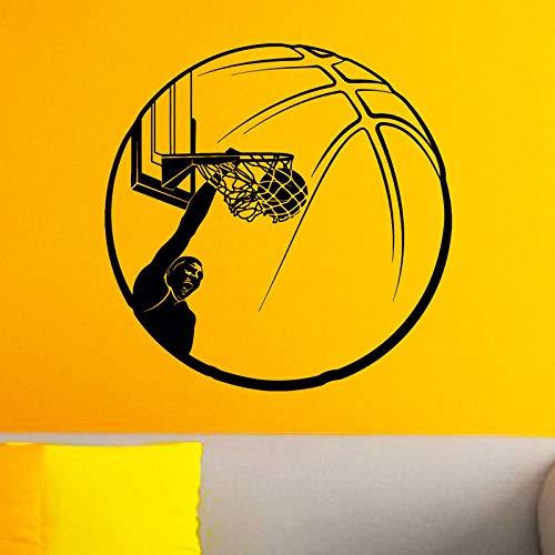 woyaofal Basketball Wandtattoos Basketballer schießen auf den Korb Dekoration Wohnzimmer DIY Vinyl abnehmbare Sport Wandbilder 42x42cm