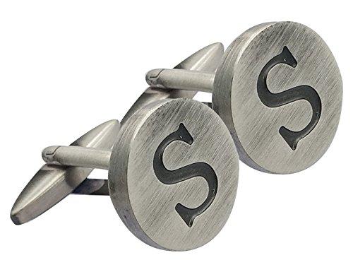 Gemony Herren 18K 925 Sterling Silber-Plated Gravierte Initiale 2PCS Manschettenknöpfe, Geschenkbox-Premium Qualität Personalisierte Alphabet Letter-S-925 Sterling Silber