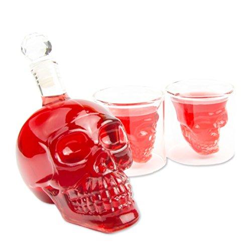 SET Skull- Flasche (350ml) mit 2 Totenkopfgläsern (70ml), für die Hausbar Party, Geschenk im Totenkopfdesign, Vodka, Whiskey- Flasche, Kristall- Schädel, Wein- Dekanter, Rum, Farbe: Transparent Kristall-dekanter Likör