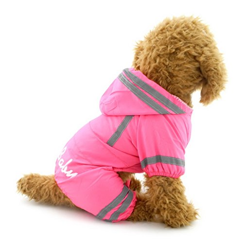 (smalllee_lucky_store yp0236-pink-m klein Wasserdicht reflektierend Hunde Pet Regenmantel, Rosa, Medium)