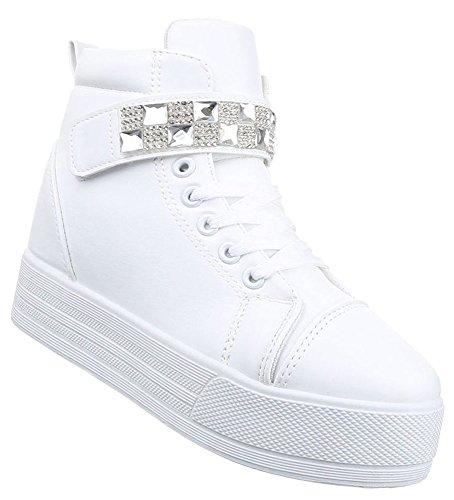 Damen Sneaker Schuhe Freizeitschuhe Keilabsatz Wedges Stiefelette High-Top  Schwarz weiss 36 37 38 39 866b79f4e3