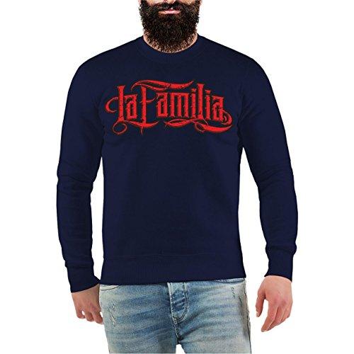 Männer und Herren Pullover Viva La Familia (mit Rückendruck) Größe S - 10XL Dunkelblau