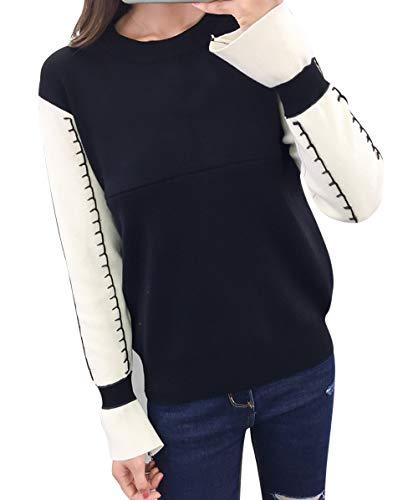 Xmiral Damen Pullover Gestreiftes Patchwork Mutterschaft Schwangerschaft Dame Sweatshirt (L,Schwarz)