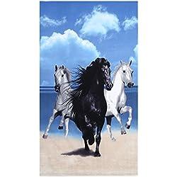 Toalla de Baño Playa Caballo con Motivos de Rayas Absorbente de Agua Gran Tamaño Manta de Sábanas de Baño Secado Rápido 100 x 180 Cm