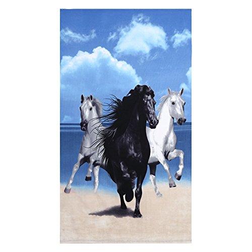 Fdit Toalla de Baño Playa Caballo con Motivos de Rayas Absorbente de Agua Gran Tamaño Manta de Sábanas de Baño Secado Rápido 100 x 180 Cm