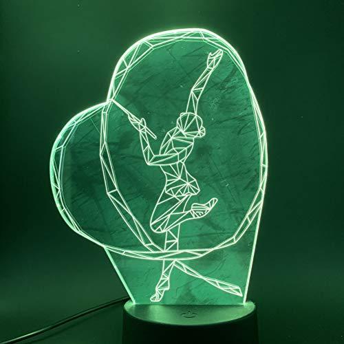 SZQLL 3D Nachtlicht Nachtlicht des Gymnastik-Band-Tanz-Mädchen-3d LED, das Noten-Schalter-Nachtlicht für Baby-Schlafzimmer-Nachttischlampe 3d ändert