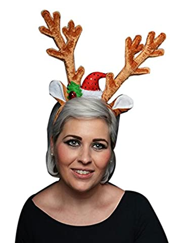 NO WHERE TO GO RANGE OF CHRISTMAS ACCESSORIES Deluxe Velvet Reindeer Antlers Headband Xmas Fancy Dress Head Bopper