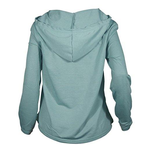 Hoodie Sweatshirt Femme,zycShang Femmes Les Manches Longues Bustier Star Sweat Fille De RéColte Au Jumper Pull Vert