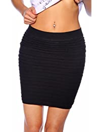 jowiha® Damen Stretch-Minirock - Black - One Size - ohne Verschlüsse Einheitsgröße S-M